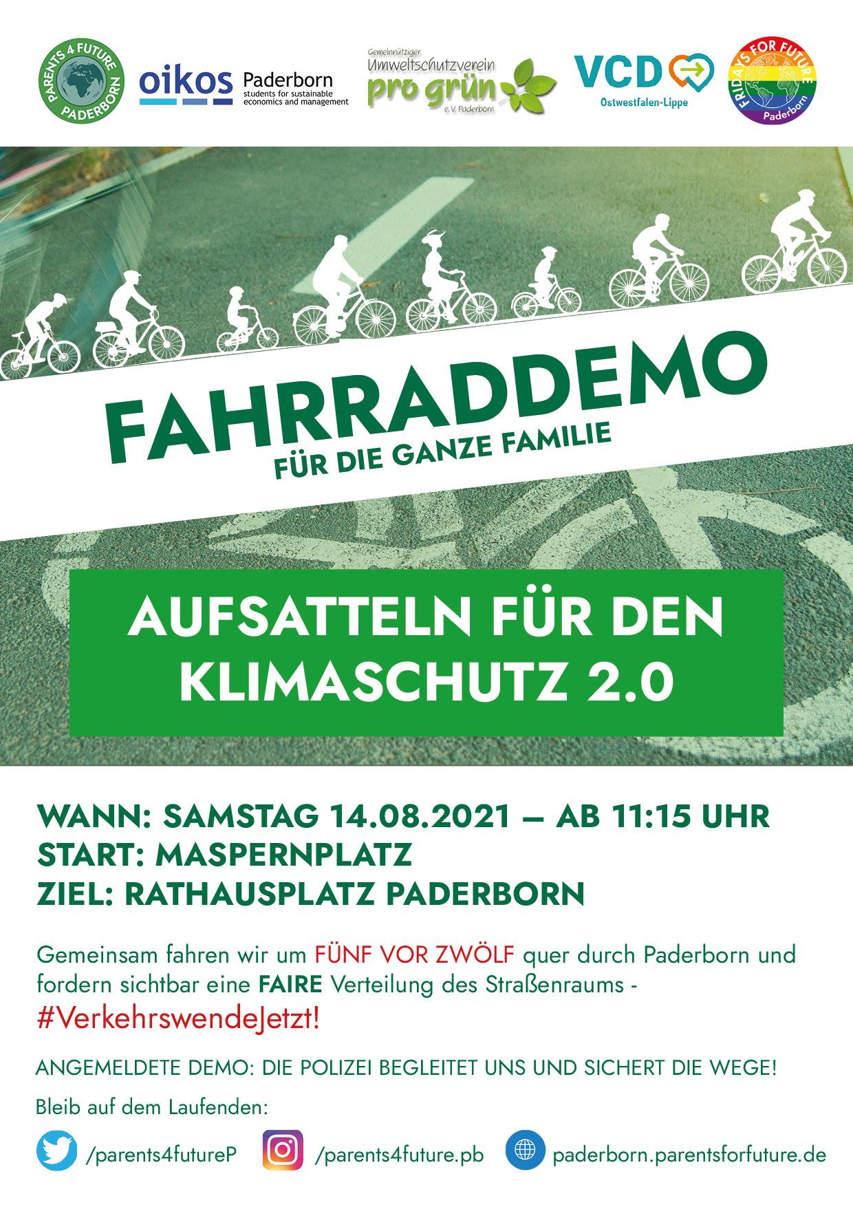 Fahrraddemo Klimaschutz Paderborn
