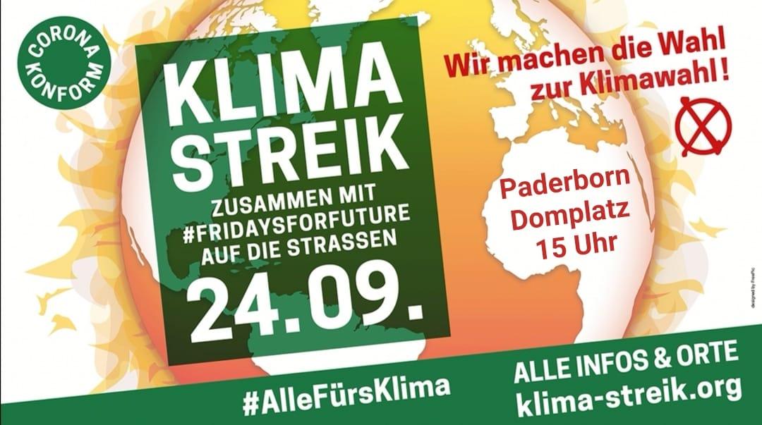 Klimastreik 24.09.2021 in Paderborn, 15:00 Uhr Domplatz